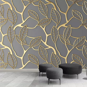 3D Wallpaper Stereoscopic Golden Tree Leaves SKU# WAL0243