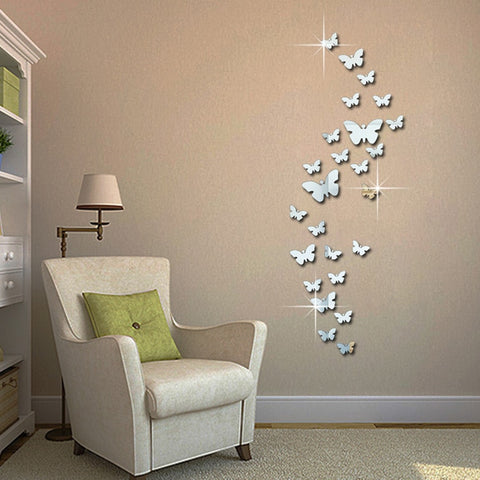 12pcs 3D Mirrors Butterfly Wall Stickers Decal Wall Art Removable Kids Room - SKU# WAL0011
