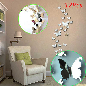 12 Pcs 3D Mirrors Butterfly Wall Stickers Decal SKU# WAL0011