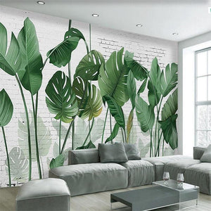 3D Wallpaper Nordic Hand-Painted Leaf Waterproof SKU# WAL0064