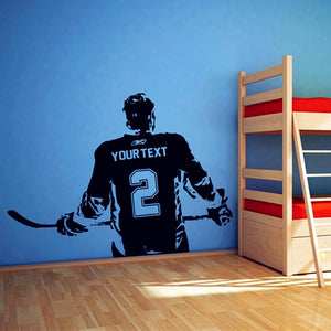 Personalized Hockey Player Decal Waterproof SKU# WAL0131