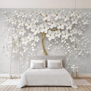 3D Wallpaper White Flower Shawl SKU# WAL0266