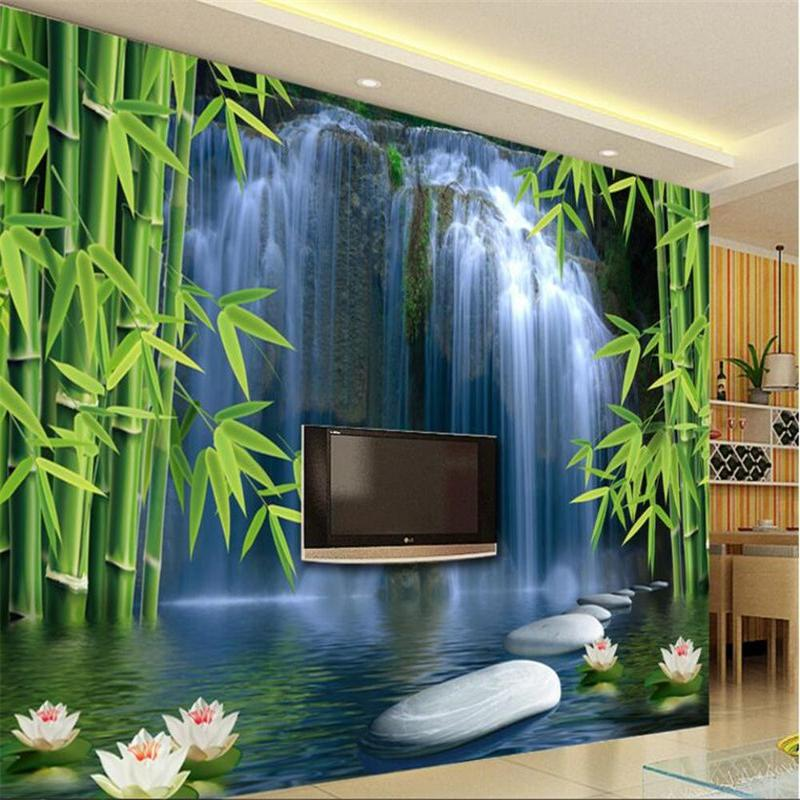 3D Wallpaper Bamboo Waterfall Waterproof SKU# WAL0086