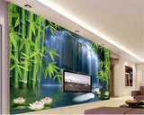 3D-HD Wallpaper Bamboo Forest Waterfall Background Wall Lotus Waterproof & Mildew Proof SKU# WAL0086
