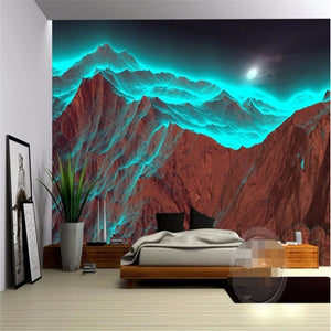 3D Wallpaper Abstract Night Mountain Waterproof SKU# WAL0091