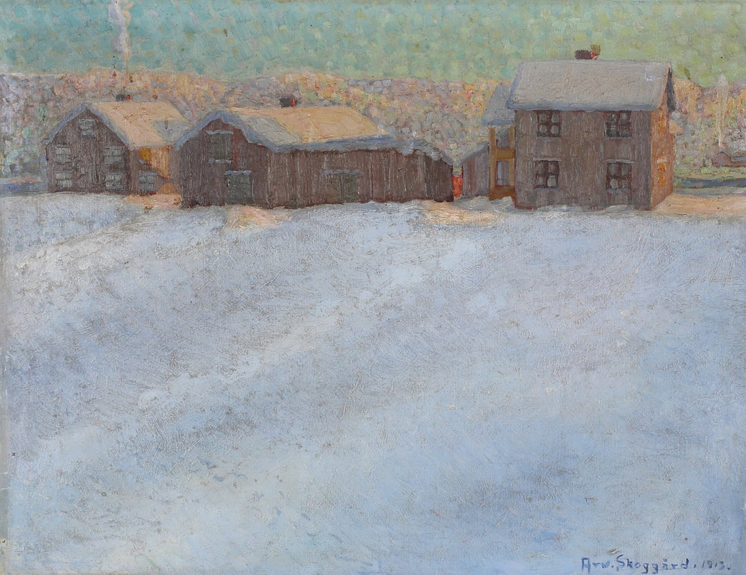 'Winter Landscape with Houses' by Arvid Skoggård