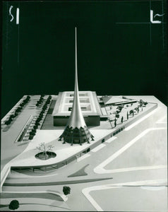 'Melbourne Arts Centre (proposed design) by Roy Grounds' - original vintage press photograph