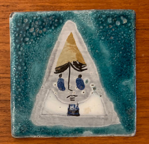 Small tile (Blue face 2) by Roger Capron