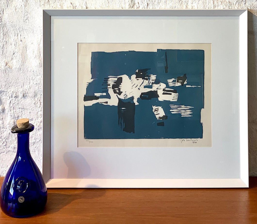 'Abstract in Blue, Black & White' by Gösta Lindqvist