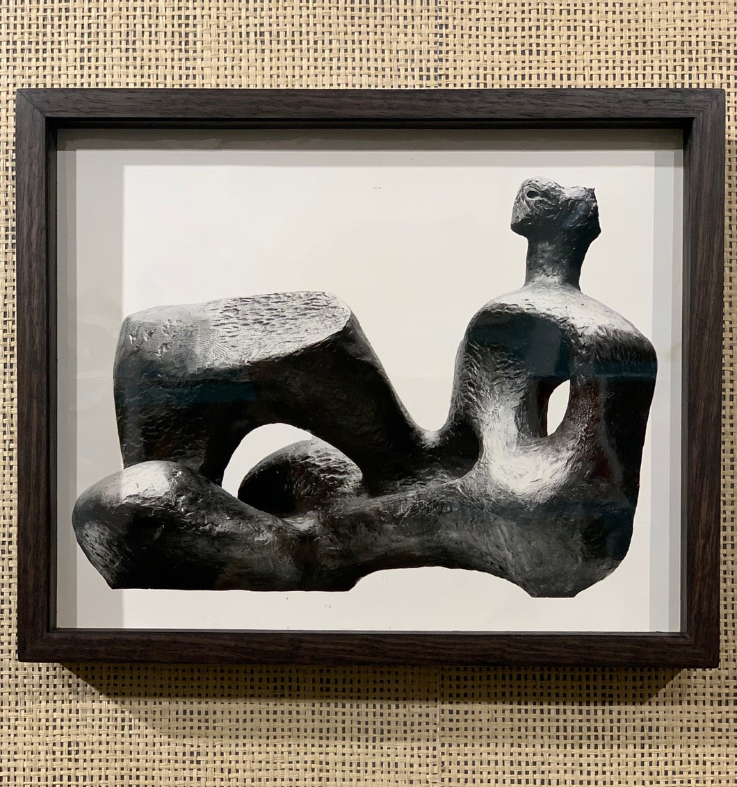 'Reclining Figure, 1957 Sculpture by Henry Moore' - original vintage press photograph