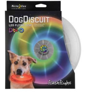 Nite Ize FlashFlight Dog Discuit Flying Disc Soft-Touch LED Frisbee Fetch Toy