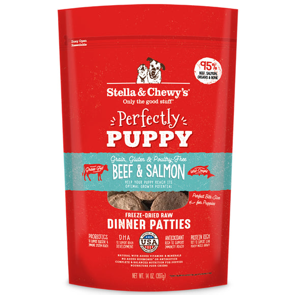 Stella & Chewy's Freeze-Dried Raw Dinner Patties Beef & Salmon Perfectly Puppy 14oz