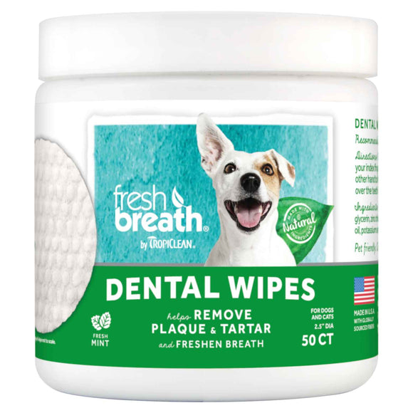 TropiClean Fresh Breath Dental Wipes for Dogs (50ct)
