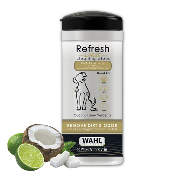 Wahl Refresh Large Dog Wipes - Coconut Lime Verbena