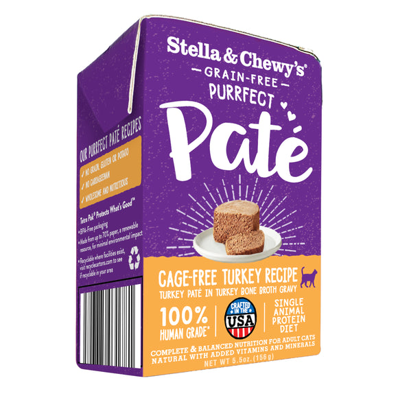 Stella & Chewy's Purrfect Pate Cage-Free Turkey Recipe Wet Food 5.5oz