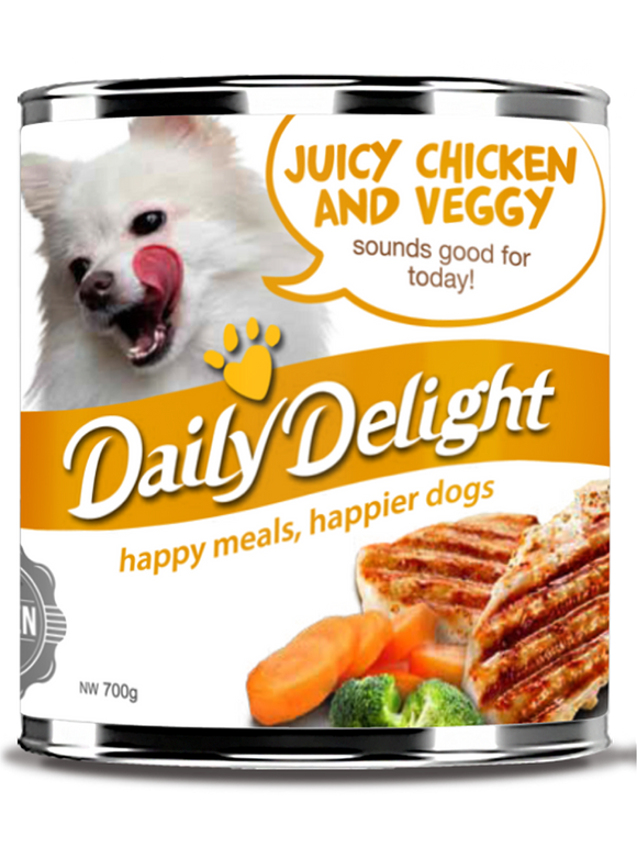 DAILY DELIGHT JUICY CHICKEN AND VEGGY DOG FOOD