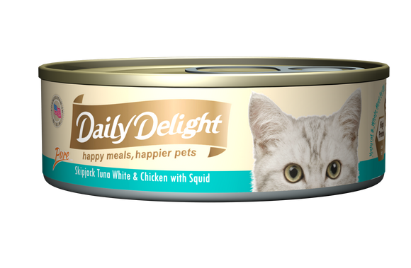 DAILY DELIGHT SKIPJACK TUNA WHITE & CHICKEN WITH BABY SQUID