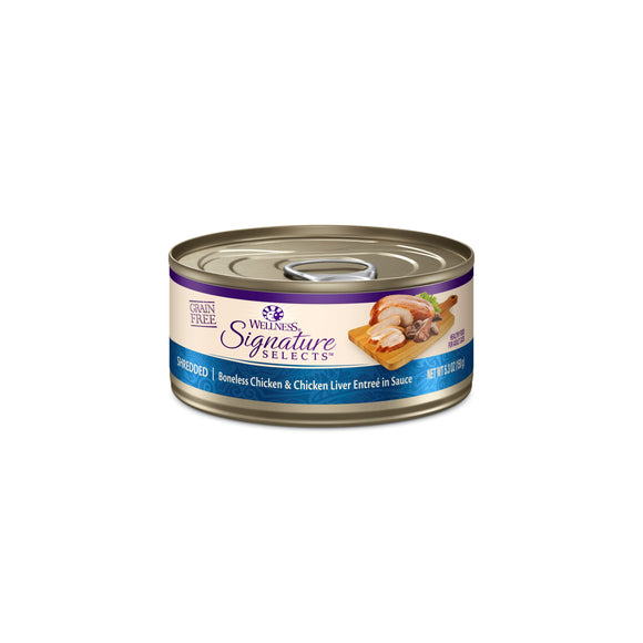 Wellness CORE Signature Selects Shredded Chicken & Chicken Liver Canned Cat Food 5.3OZ