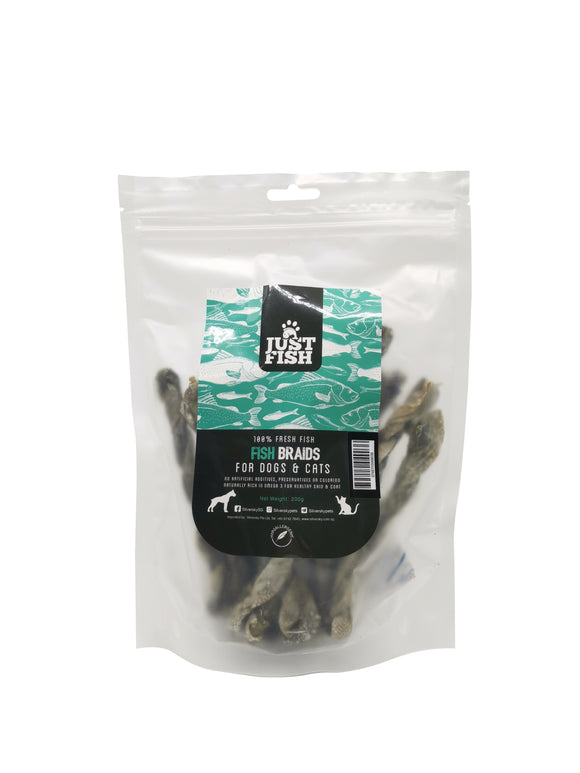 Just Fish Natural Treats for Cats & Dogs Fish Braids