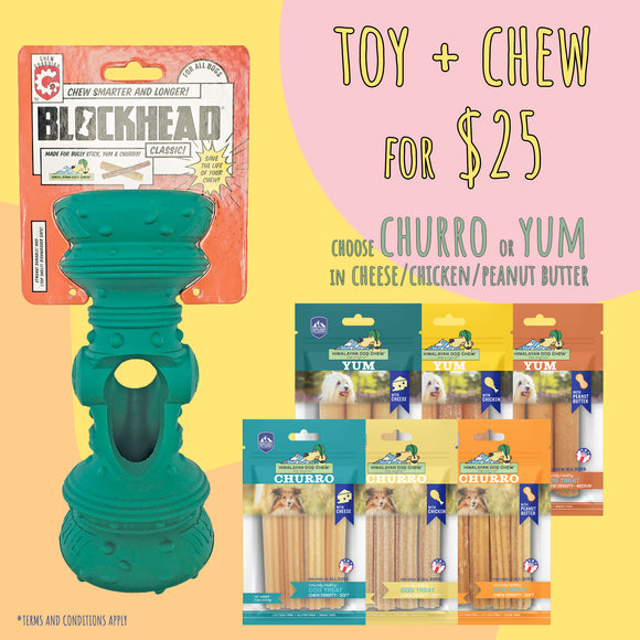 *BUNDLE DEALS* Himalayan Blockhead® Chew Guardian Dog Toy + Churro or Yum Dog Chew