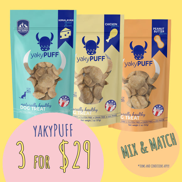 **PROMOTION** Himalayan yakyPUFF Cheese Dog Treats / 3 for $29