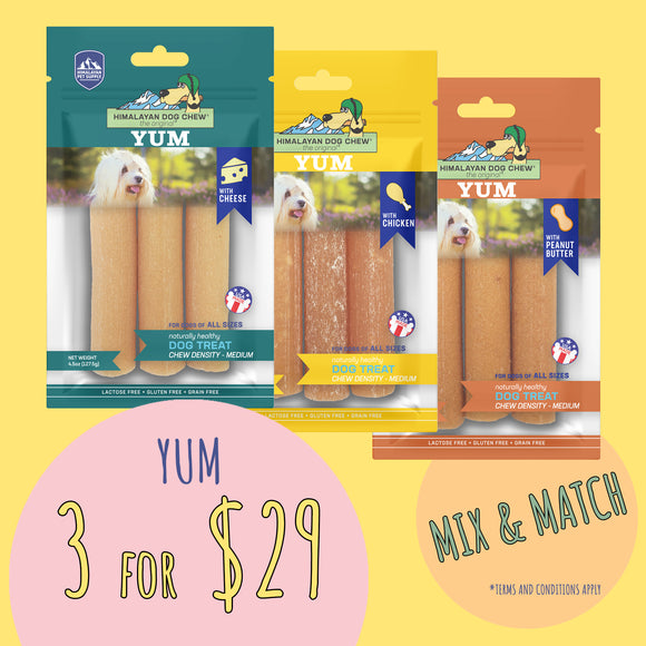 *SPECIAL SALES* Himalayan YUM Cheese Dog Chew / 3 for $29
