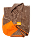 FuzzYard Microfibre Drying Towel Brown with Orange Trim