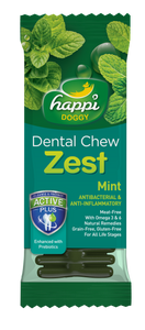 HAPPI DOGGY DENTAL CHEW ZEST - MINT 4 INCH