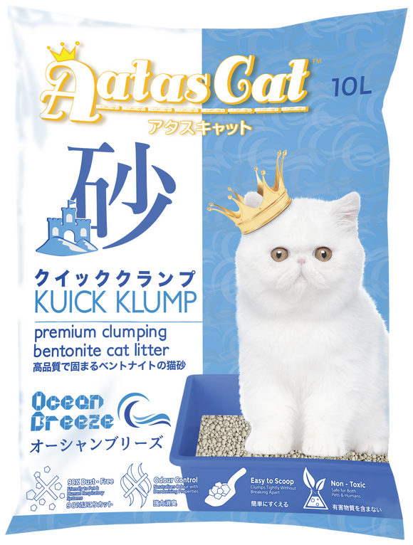 Aatas Cat Kuick Klump Bentonite Cat Litter Ocean Breeze 10L