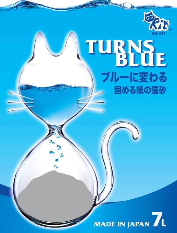 QQ Kit Recyclable Paper Cat Litter Turns Blue 7L