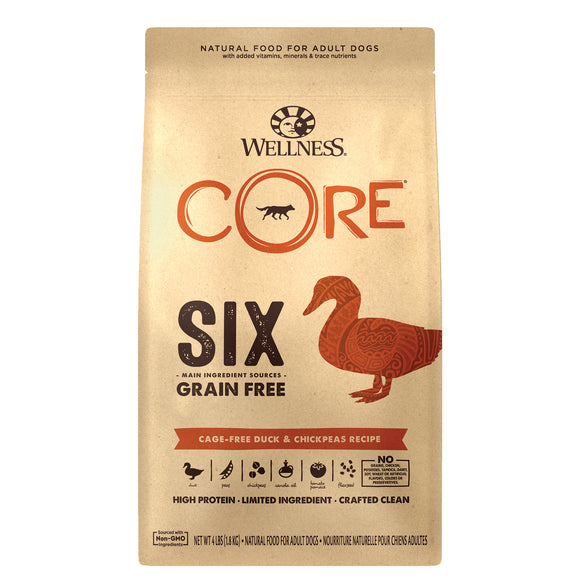 Wellness CORE Six Grain Free Cage-Free Duck & Chickpeas Recipe
