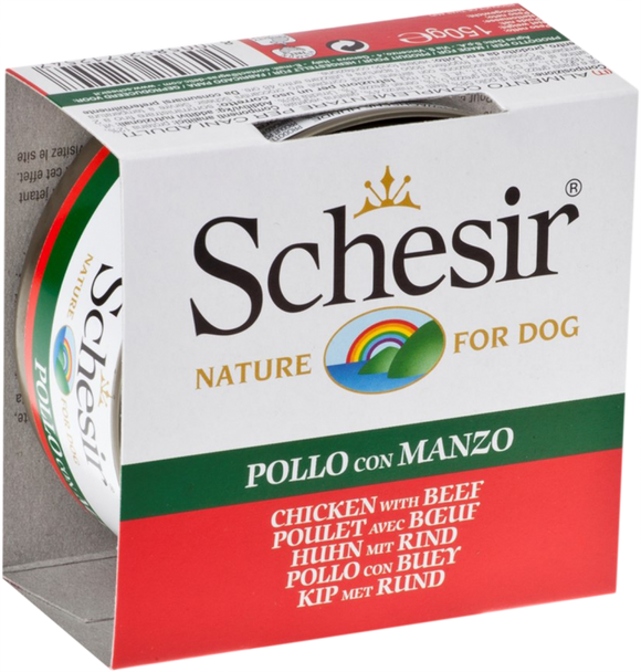 Schesir Dog Can in Jelly Chicken Fillets with Beef