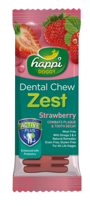 HAPPI DOGGY DENTAL CHEW ZEST - STRAWBERRY 4 INCH
