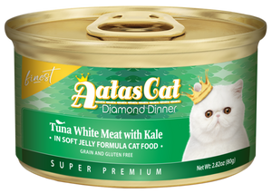 Aatas Cat Finest Diamond Dinner Tuna White Meat with Kale in Soft Jelly 80g