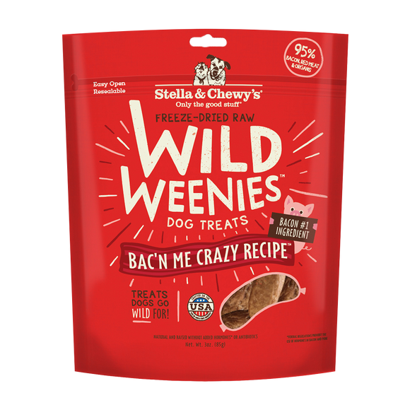 Stella & Chewy's Wild Weenies Bac'n Me Crazy Bacon Dog Treats 3.25oz