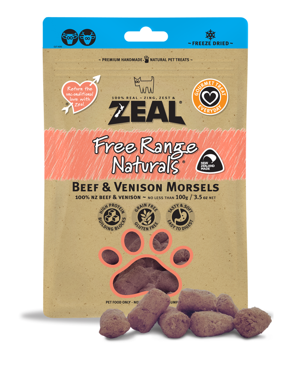 ZEAL Free Range Naturals Beef & Venison Morsels Freeze Dried Treats 100g