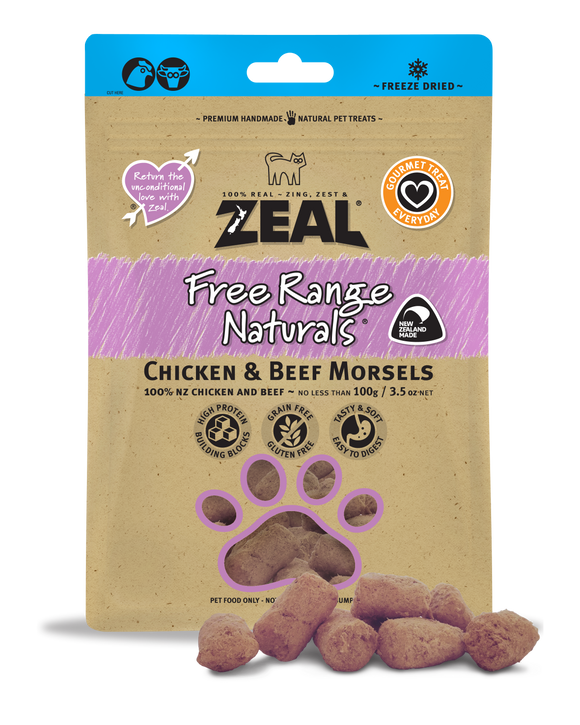 ZEAL Free Range Naturals Chicken & Beef Morsels Freeze Dried Treats 100g