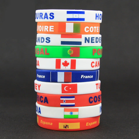 Silicone Country World Flag Logo Sport Wristband