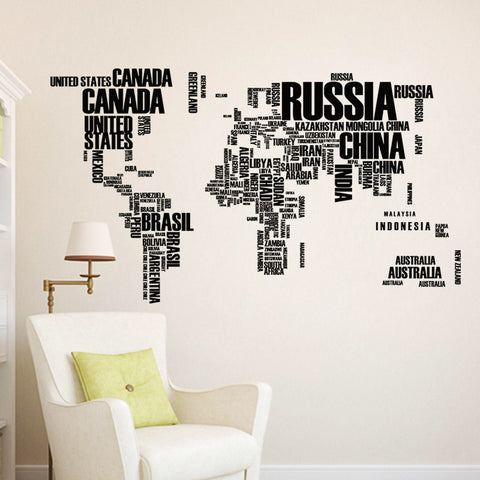 Country Name World Map Wall