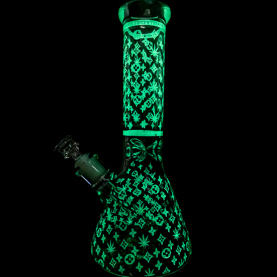 Wholesale glow dark beaker with lv theme
