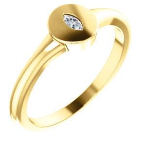 14K Yellow Gold Marquise Diamond Signet Ring