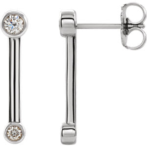 Diamond Bezel Bar Earrings