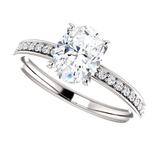 The Maya - Oval Diamond Engagement Ring with Side Stones