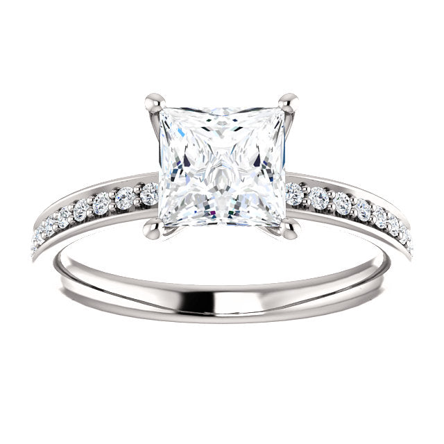 The Maya - Princess Cut Diamond Engagement Ring with Side Stones