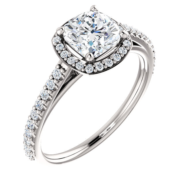 The Emilia - Cushion Cut Halo Diamond Engagement Ring