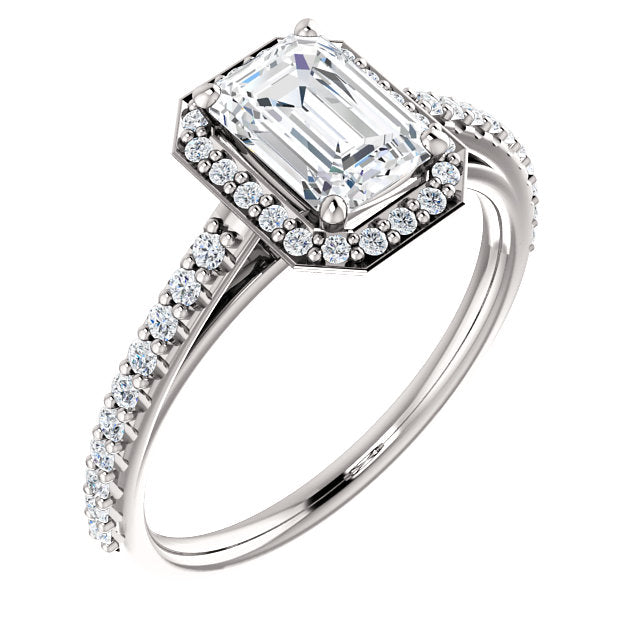 The Emilia - Emerald Cut Halo Diamond Engagement Ring