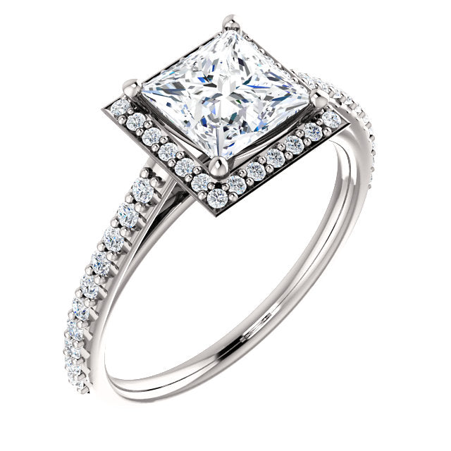 The Emilia - Princess Cut Halo Diamond Engagement Ring