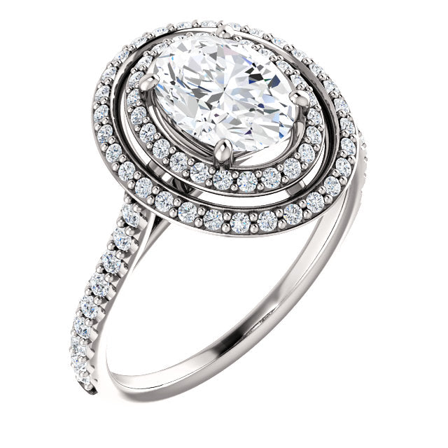 The Thea - Oval Double Halo Diamond Engagement Ring