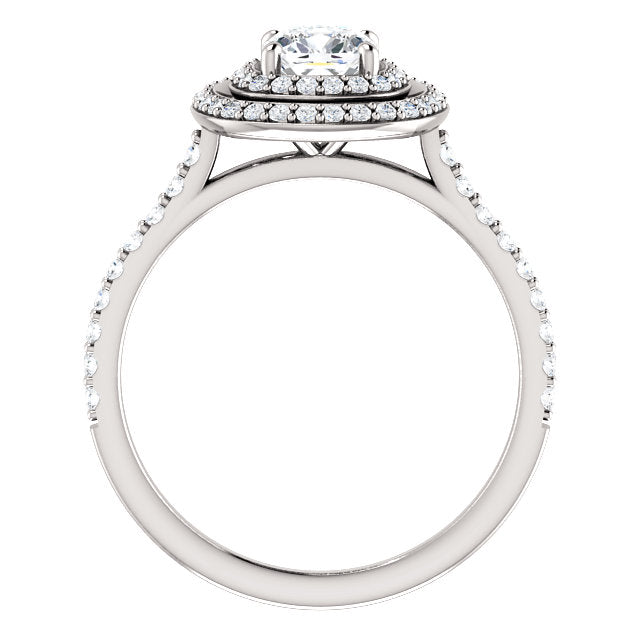 The Thea - Cushion Cut Double Halo Diamond Engagement Ring