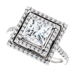 The Thea - Princess Cut Double Halo Diamond Engagement Ring